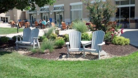 JMU- white chairs and white bench